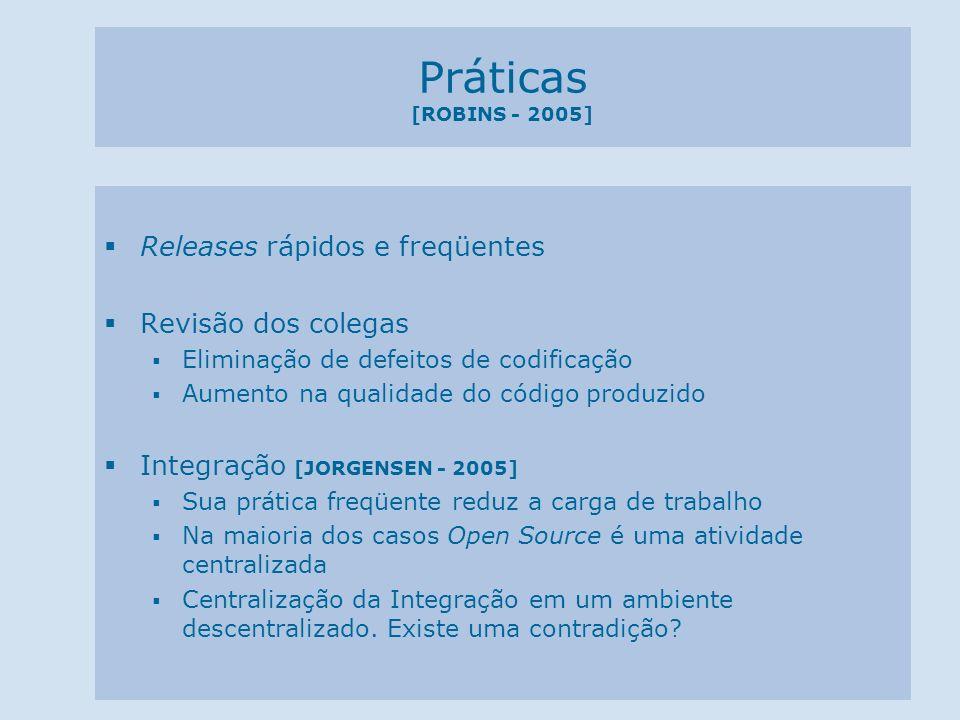 Práticas [ROBINS - 2005] Releases rápidos e freqüentes